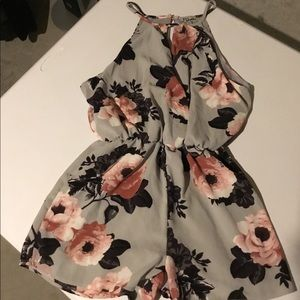 Gray and floral romper